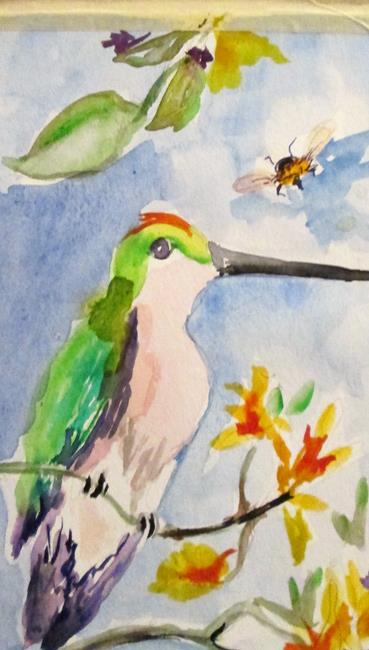 Art: Hummingbird and Bee by Artist Delilah Smith