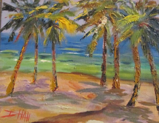 Art: Palm Trees on the Beach by Artist Delilah Smith
