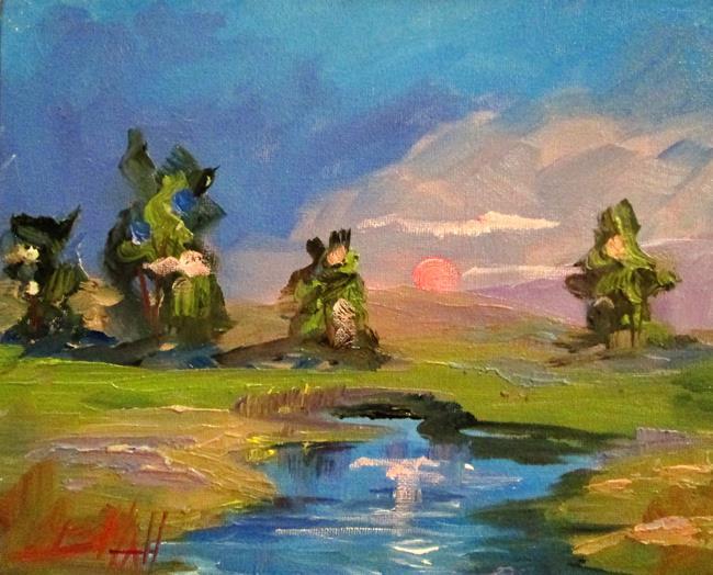 Art: Sunset Landscape by Artist Delilah Smith