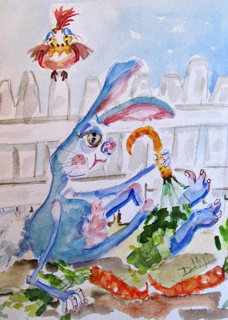 Art: Blue Bunny and Carrots by Artist Delilah Smith