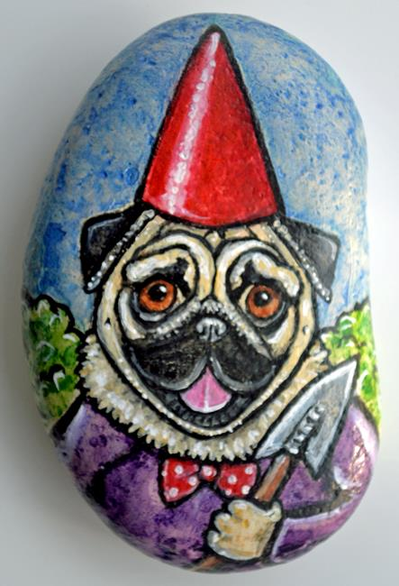 Art: Winston the Pug Gnome by Artist Melinda Dalke