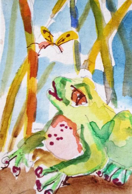 Art: Frog and Butterfly by Artist Delilah Smith