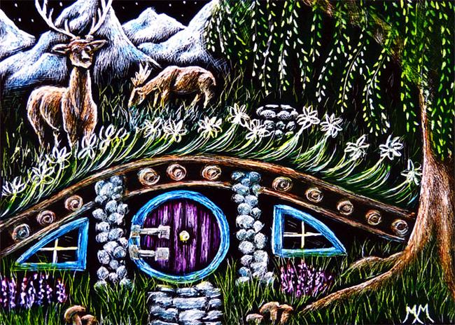 Art: Hobbit Cottage  (SOLD) by Artist Monique Morin Matson