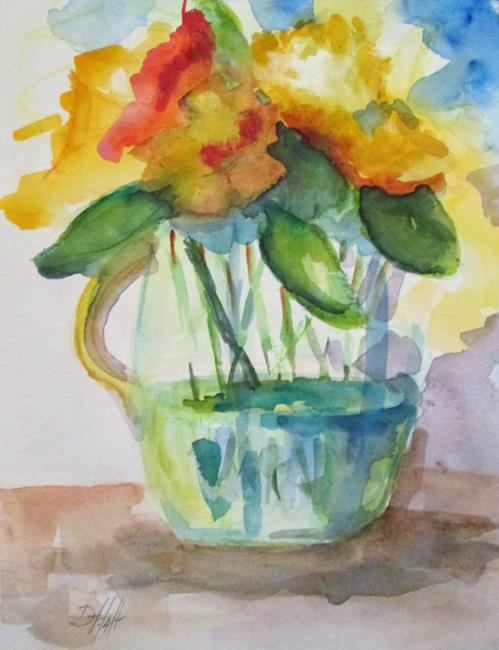 Art: Vase of Yellow Flowers by Artist Delilah Smith
