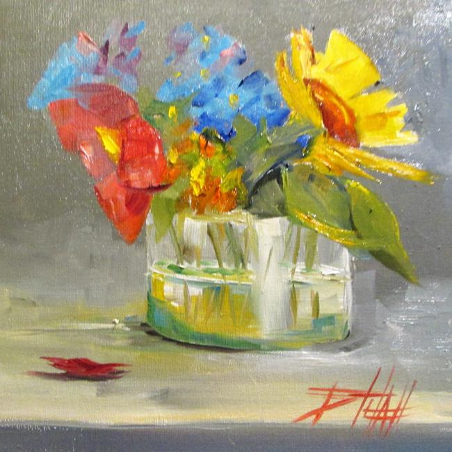 Art: Pink and Yellow Flowers by Artist Delilah Smith