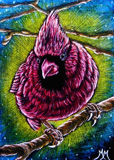 Art: Cardinal Night  (SOLD) by Artist Monique Morin Matson