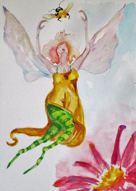 Art: Fairy and Bumble Bee by Artist Delilah Smith