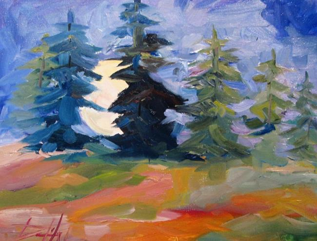 Art: Moon Rising Over Pine Trees by Artist Delilah Smith