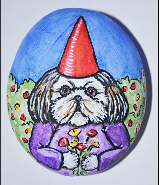 Art: Flower the Shih Tzu Gnome by Artist Melinda Dalke