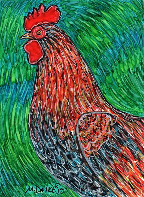 Art: Swirls and Rooster by Artist Melinda Dalke