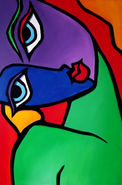 Art: Original Abstract Pop Art Good Night by Artist Thomas C. Fedro