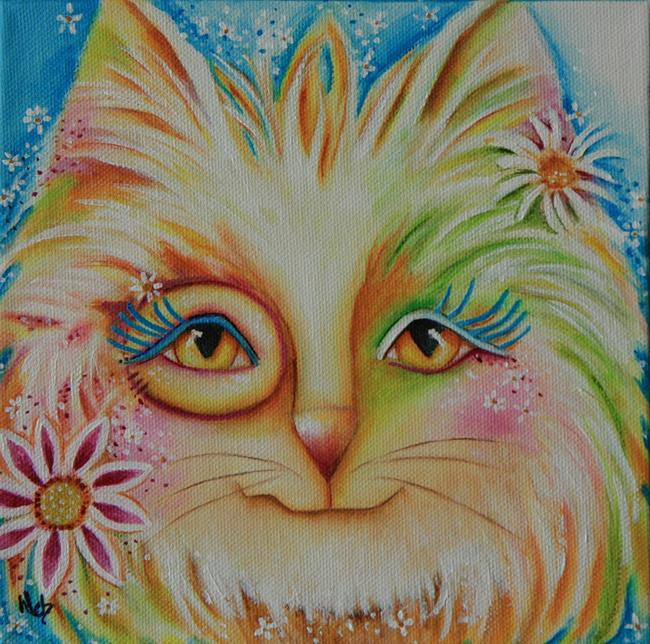 Art: African Flower Cat by Artist Deb Harvey
