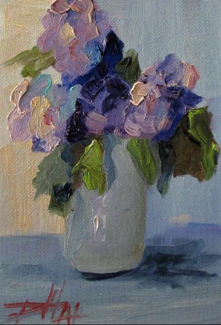 Art: Purple Flowers in a Vase by Artist Delilah Smith
