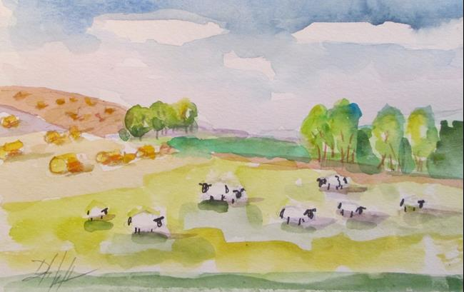 Art: Sheep and Round Bails by Artist Delilah Smith