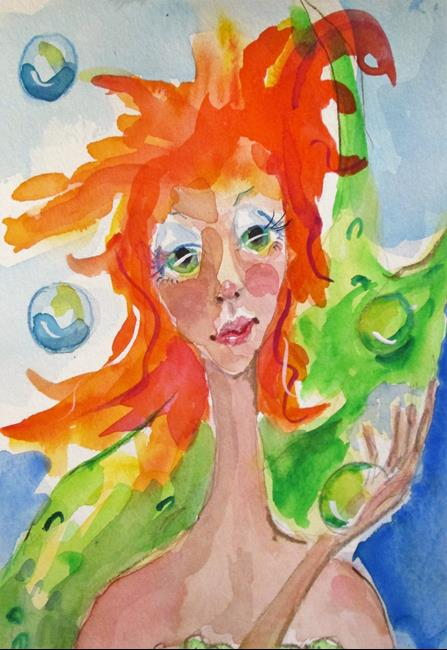 Art: Mermaid and Bubbles by Artist Delilah Smith