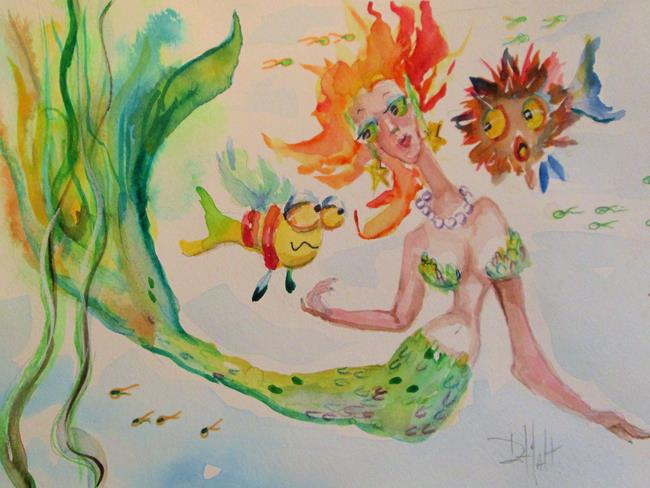 Art: Mermaid and Pet Fish by Artist Delilah Smith