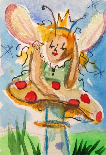 Art: Fairy on a Mushroon by Artist Delilah Smith
