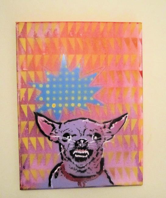 Art: Mad Chihuahua Dog Original Pop Graffiti Art by Artist Paul Lake, Lucky Studios