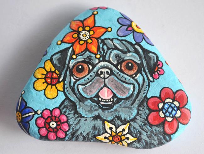 Art: Petunia Pug Rock by Artist Melinda Dalke