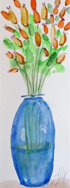 Art: Tall Vase of Flowers by Artist Delilah Smith