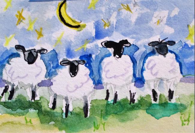 Art: Moon Light Sheep by Artist Delilah Smith