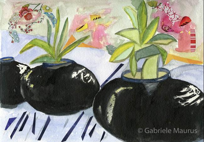 Art: Flowerpot Alley by Artist Gabriele Maurus