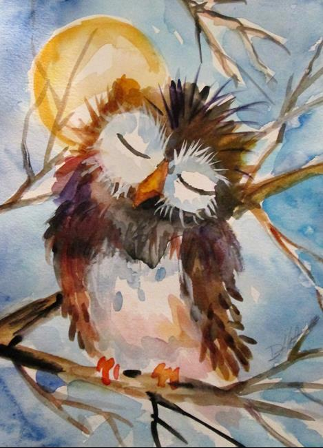 Art: Sleepy Owl by Artist Delilah Smith