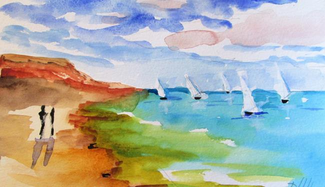 Art: Beach and Sailboat by Artist Delilah Smith
