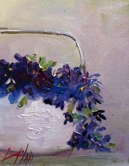 Art: Basket of Violets-sold by Artist Delilah Smith