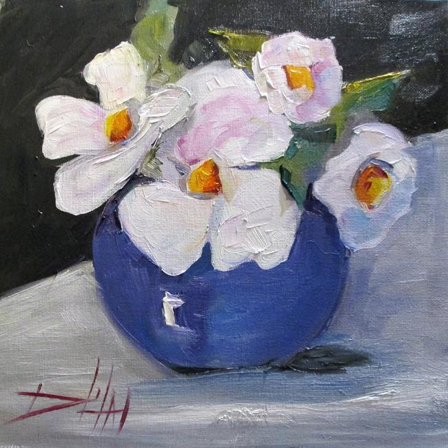 Art: White Flowers in a Vase by Artist Delilah Smith