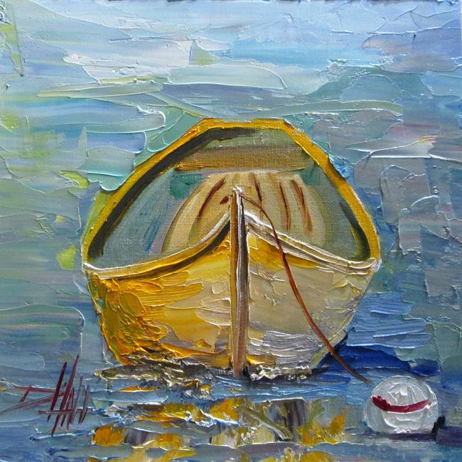 Art: Yellow Row Boat by Artist Delilah Smith