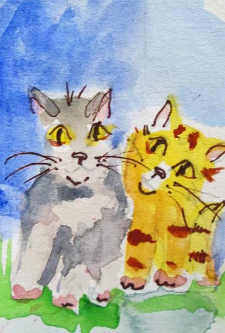 Art: Two Cats by Artist Delilah Smith