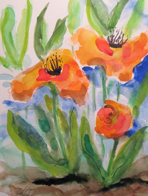 Art: Flowers in Orange by Artist Delilah Smith