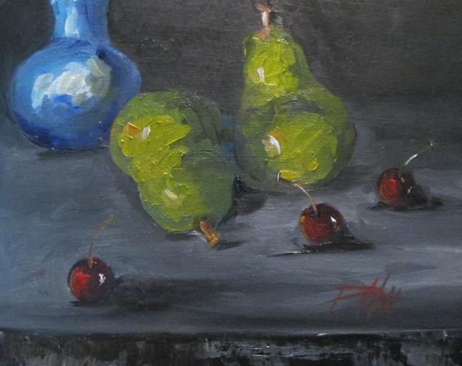 Art: Green Pears and Cherries by Artist Delilah Smith