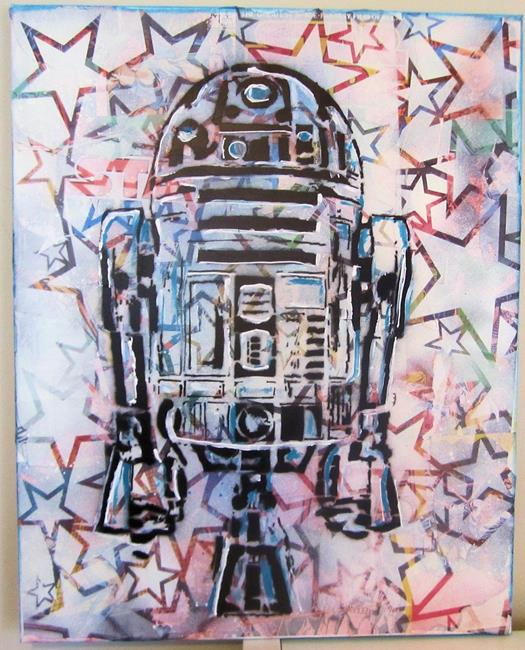 Art: Star R2D2 Original Pop Graffiti Art by Artist Paul Lake, Lucky Studios