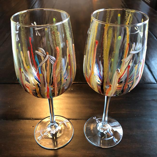 Art: Circus Dragonfly Wine Glasses 2018 x 2 by Artist Rebecca M Ronesi-Gutierrez