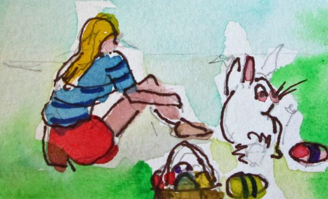 Art: Easter Egg Hunt by Artist Delilah Smith