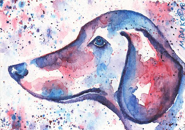 Art: ACEO Colors Dachshund 1.jpg by Artist Melinda Dalke