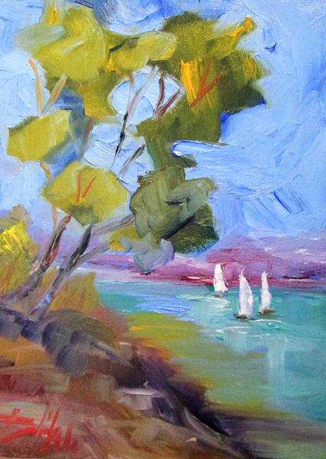 Art: Cypress Trees and Sailboats by Artist Delilah Smith