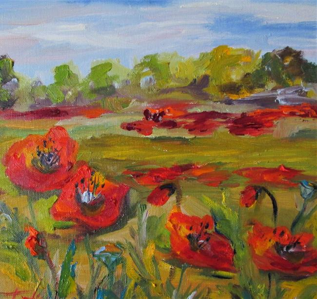 Art: Red and Green Poppies-sold by Artist Delilah Smith