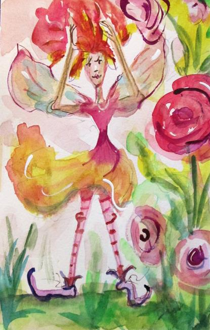 Art: Pink Flower Fairy by Artist Delilah Smith
