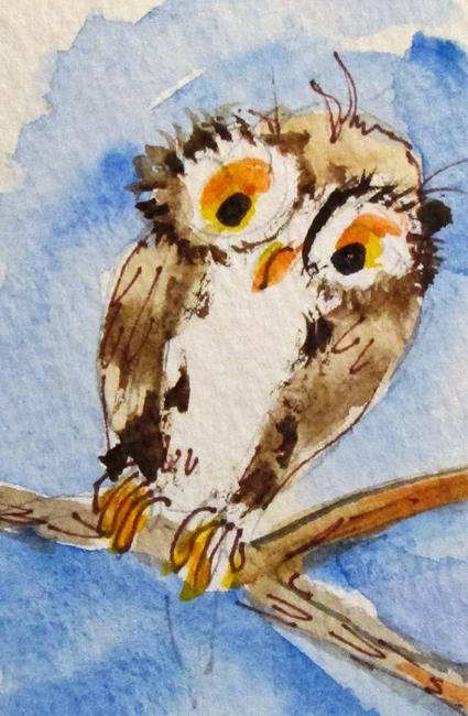 Art: Owl on a Branch by Artist Delilah Smith