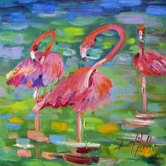 Art: Flamingos No. 2-sold by Artist Delilah Smith