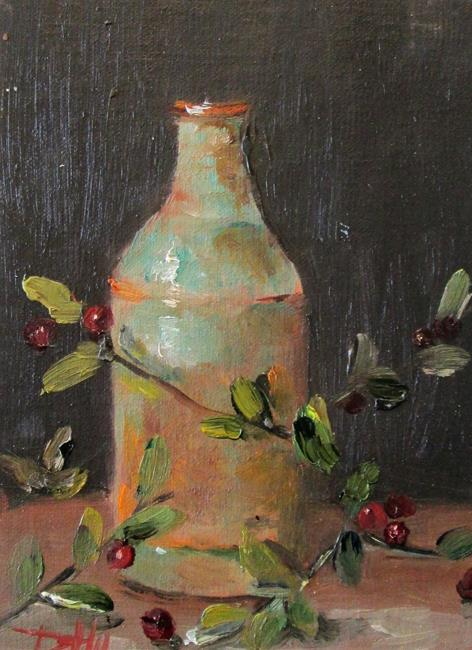 Art: Vase and Crab apples by Artist Delilah Smith