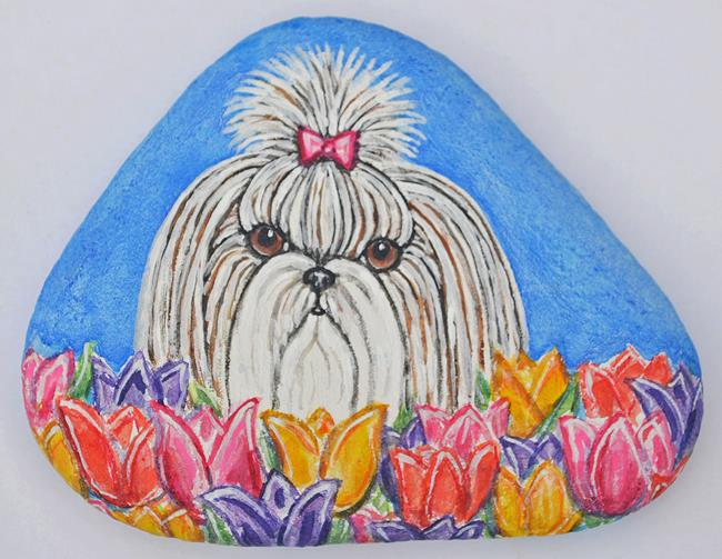 Art: Shih Tzu and Tulips by Artist Melinda Dalke