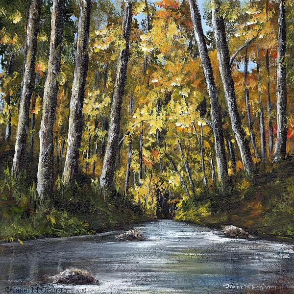 Art: Autumn River No 3 by Artist Janet M Graham