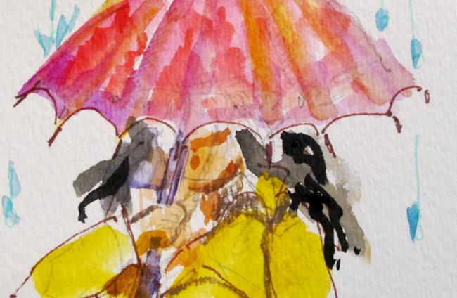 Art: Umbrella and Rain by Artist Delilah Smith