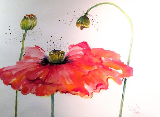 Art: Poppy and Pods by Artist Delilah Smith