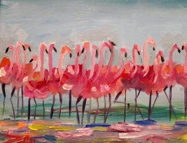 Art: Flock of Flamingos No. 2 by Artist Delilah Smith