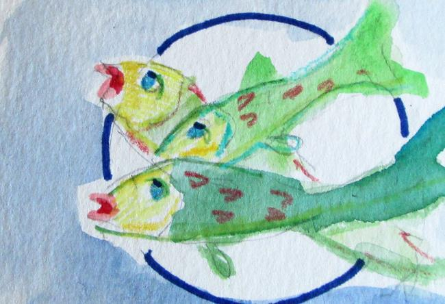 Art: Plate of Fish by Artist Delilah Smith
